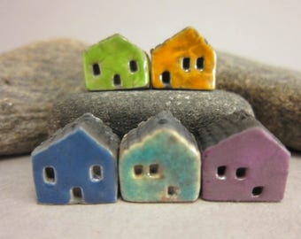 5 Raku House Beads...Green Yellow Dark Blue Lagune Purple