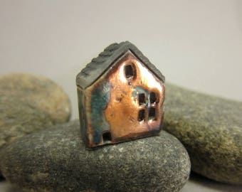 Raku House Bead/Pendant...Copper