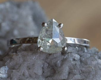 One of a Kind Silver-Green Rose Cut Diamond Ring