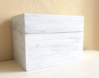 Shabby Chic White Farmhouse Style Painted Wood Wooden Box Storage
