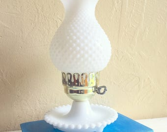 Vintage Milk Glass Lamp with Gold Electric Table Lamp