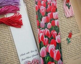 Blooming Dutch Red & Pink Tulips Keukenhof Gardens Netherlands Spring Floral Photo Bookmark w/ Red Cloisonne Tulip Flower Charm