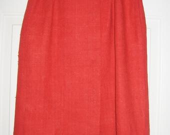"Vintage Red Silk Pencil Wiggle Skirt 26"" Waist Hong Kong British Crown Colony"