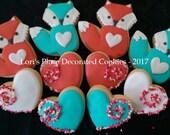 Valentines Day Cookies - Fox Cookies - Fox Valentine Cookies - 10 Cookies