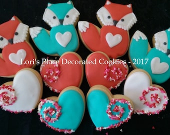 Fox Cookies - Fox Valentine Cookies - 10 Cookies