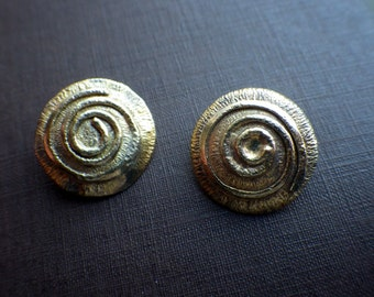 Vintage Swirl Clip Earrings - British Hallmarked - London Made - Vermail