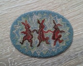 "Folk Art Miniature Punch Needle Dollhouse Rug ""Dancing Rabbits"""
