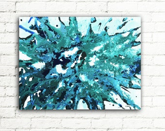 Abstract Art Blue Painting, Canvas Wall Art Living Room Decor, Modern Art Acrylic Pouring Fluid Painting 18x24 - Tear Drop