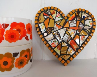Heart Decoration, Orange Heart, Crockery Mosaic Heart, Hanging Decoration