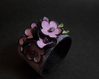 40% OFF SALE Elegant leather flowers cuff bracelet wristband Bohemian Boho Rustic jewelry