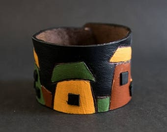 40% OFF SALE Colorful houses leather wide black cuff bracelet Jewelry Wristband Casual