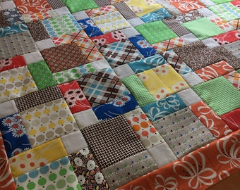 "Unfinished quilt top - Free Spirit by Denyse Schmidt - Katie Jump Rope - 46"" square / table topper / small quilt / ready to quilt / 9 patch"