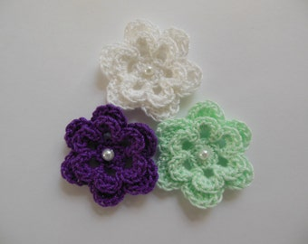 Trio of Crocheted Flowers - Purple, Mint Green and White with Pearl - Cotton Flower Appliques