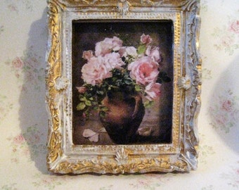 Dollhouse picture, tatty chic, miniature picture, gold trimmed picture, Victorian Roses, Vase of roses, , a dollhouse miniature