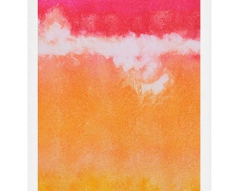 Tangerine Tie Dye Watercolor Print