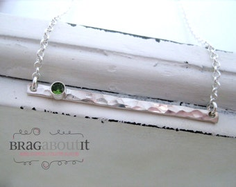 Horizontal Bar Necklace . Hammered Bar Necklace . Birthstone Necklace . Sterling Silver Necklace . Simple Necklace . Brag About It