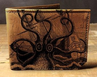 wallet - leather wallet - octopus attacks wallet - mens wallet - 001