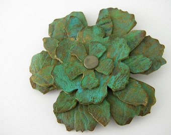 Leather Flower Brooch,  Layered Flower Pin, Flower for Lapel,  Sizzix Die Cut Flower, Green Leather Flower Pin, Recycled Upcycled Jewelry