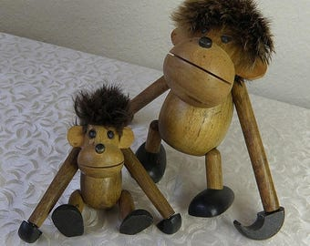SPRING SALE Hans Bolling..2 Mid Century Danish Modern  Wooden HANGING Monkeys with Fur