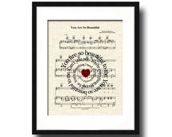 You Are So Beautiful Sprial Lyric Sheet Music Art Print, Love Song Art, First Dance Art, Names and Date, Custom Wedding & Anniversary