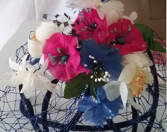Vintage Whimsy Headband Hat With Flowers  A121