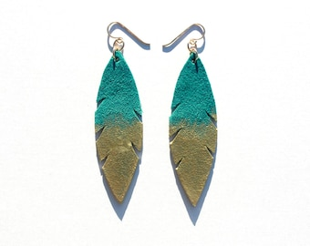 Metallic Dipped Leather Feather Earrings -  Teal Suede and Gold with 14k Gold-Fill