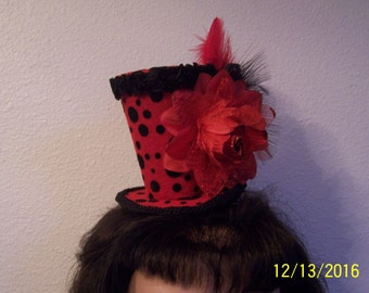 Red and Black Mini Top Hat
