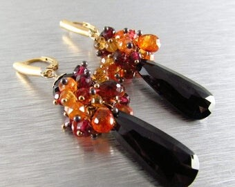 25% Off Colorful Wire Wrapped Earrings, Black Spinel, Mozambique Garnet, Citrine and Orange Garnet Cluster Earrings