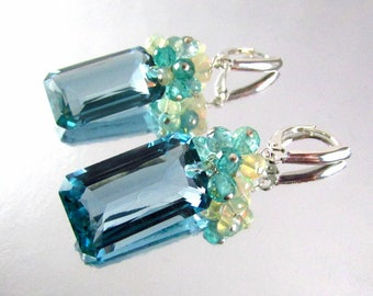 25% Off Blue Green Amethyst With Ethiopian Opal and Apatite Sterling Silver Lux Earrings