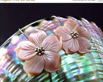 25 % OFF Blush Pink Mother Of Pearl Floral Sterling Silver Earrings