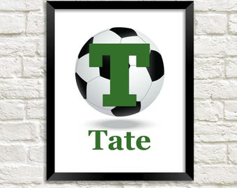 Boys Soccer Wall Art, Sports Theme Nursery Baby Boy Nursery Decor, Personalized Nursery, Soccer Wall Art, Soccer Print, Soccer Sports Decor