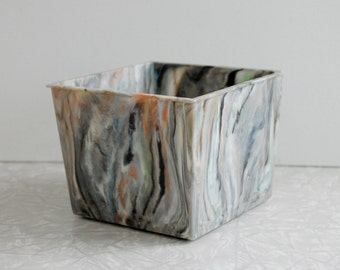 marbled plastic planter, vintage midcentury modern planter, small plastic container, collectible plastic ware, gray black white multicolor
