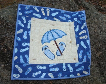 Blue and Tan Flip Flop Umbrella Quilted Wallhanging