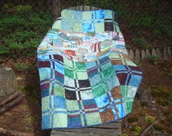 Blue Green and Brown Fish Lap Quilt Baby Quilt