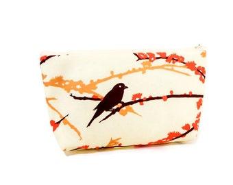 Bird Pouch, Fabric Zipper Pouch, Cosmetic Pouch, Toiletry Bag, Medium Zipper Pouch, Zipper Case, Bird Case, Pouch, Bird on Branch in Yellow
