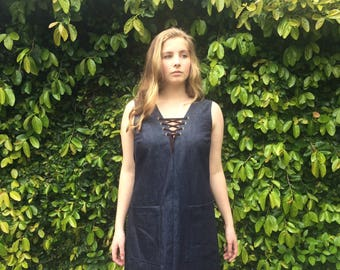 Janis Denim dress with lace up detail-Small