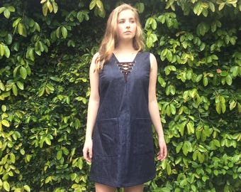 Janis Denim dress with lace up detail- XS