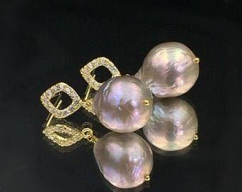 SPRING SALE Huge Silver Baroque Pearl Earrings Large Grey Pearl Dangle Earrings Silver Luxury Freshwater Big Baroque Pearl Earrings Gold Ver