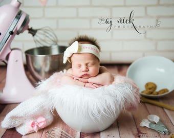 Personalized newborn knotted headband, newborn girl photo prop, newborn photography, knot headband, bow tie headband