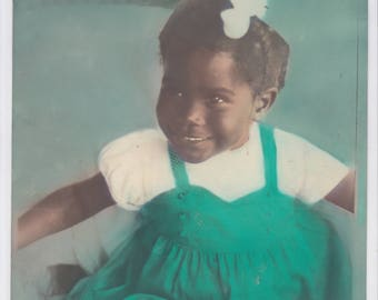 """Vintage hand tinted 8"""" x 10"""" photograph of a little african american girl"""