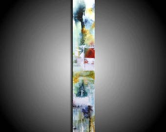 Large Abstract Painting Original Painting Modern Canvas Wall Art 36 x 6 Unique Colorful Painting Gray Navy Red White Home Decor Alcohol Ink