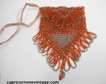 Vintage 1920s Beaded Flapper Bag Art Deco Purse Fringe Glass Micro Beads Orange and Clear Seed Beads Unlined Drawstring Beaded Purse
