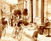 coffee art, Tour de France, painted using only coffee, Paris, bicycle, bike, 1920s