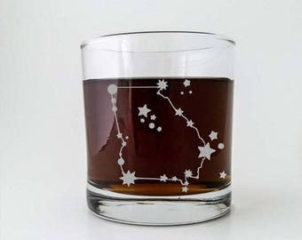 Georgia State Constellation Stars | Etched Cocktail Old Fashioned Glass