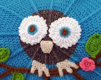 Baby Blanket, Afghan, Owl blanket, baby gift set, Owl baby blanket, Owl round blanket, carseat blanket