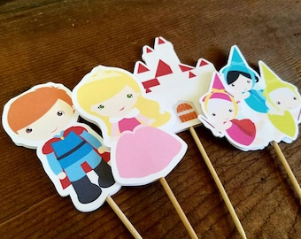 Aurora & Friends Party - Set of 12 Aurora and Friends Double Sided Assorted Cupcake Toppers by The Birthday House