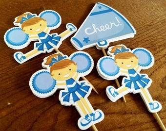 Cheer Party - Set of 12 Double Sided Assorted Cheerleaders Cupcake Toppers in Blue by The Birthday House