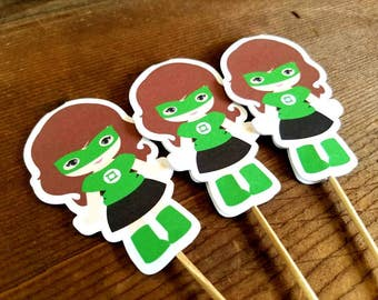 Superhero Girls Party Collection - Set of 12 Green Lantern Girl Cupcake Toppers by The Birthday House