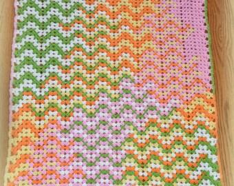 handmade crochet zig zag blanket, ripple blanket, chevron baby blanket, pink chevron blanket green chevron blanket, unisex