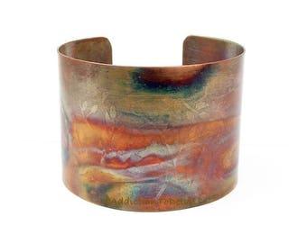 "Copper Cuff Bracelet, Wide Cuff, Hammered Copper, Boho Metal Bracelet, Copper Anniversary, Earthy Jewelry, 1 3/4"" Iridescent Jewelry"